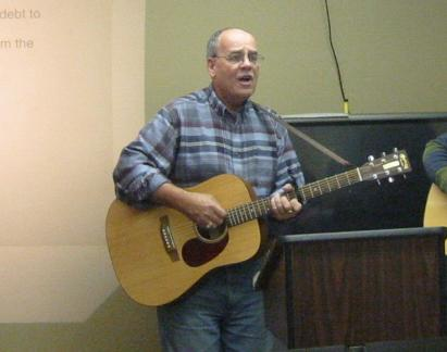 Ian leading praise and worship in Nain, Labrador.